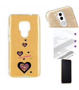 Coque Mate 20 glitter paillettes dore smiley coeur emojii