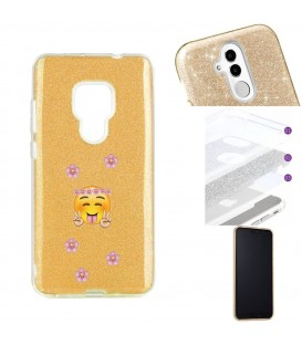 Coque Mate 20 glitter paillettes dore Smiley peace fleur emojii