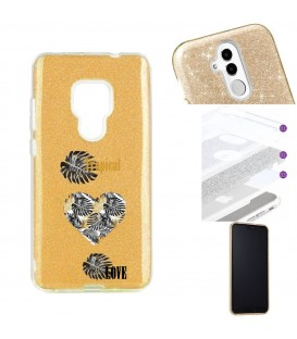 Coque Mate 20 glitter paillettes dore tropical love coeur