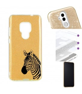 Coque Mate 20 glitter paillettes dore zebre wild jungle raye