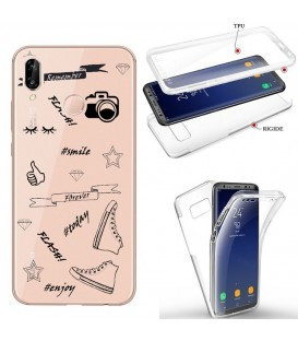 Coque Y7 2019 integrale flash BFF emojii noir transparente