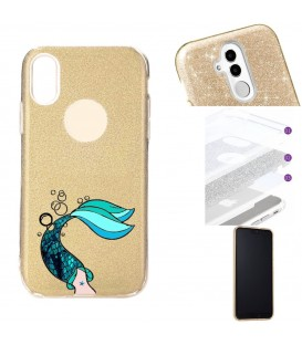 Coque Iphone XS MAX glitter paillettes dore sirene mermaid bleu