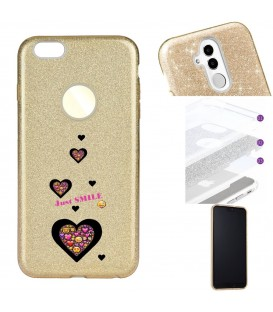 Coque Iphone 7 8 glitter paillettes dore smiley coeur emojii