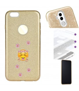 Coque Iphone 7 8 glitter paillettes dore Smiley peace fleur emojii