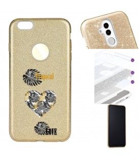 Coque Iphone 7 8 glitter paillettes dore tropical love coeur