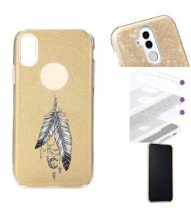 Coque Iphone XR glitter paillettes dore plumes dreamcatcher