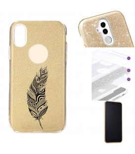 Coque Iphone XR glitter paillettes dore plumes noir dreamcatcher