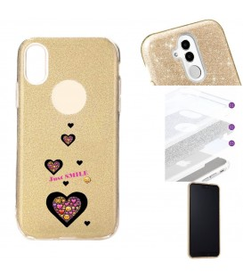 Coque Iphone XR glitter paillettes dore smiley coeur emojii
