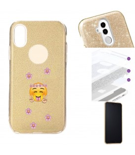 Coque Iphone XR glitter paillettes dore Smiley peace fleur emojii