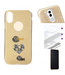 Coque Iphone XR glitter paillettes dore tropical love coeur