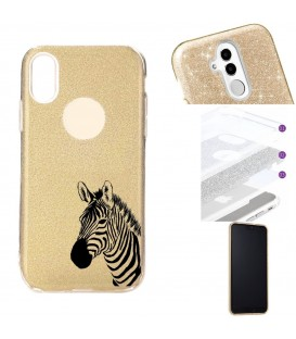 Coque Iphone XR glitter paillettes dore zebre wild jungle raye