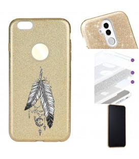 Coque Iphone 7 PLUS 8 PLUS glitter paillettes dore plumes dreamcatcher