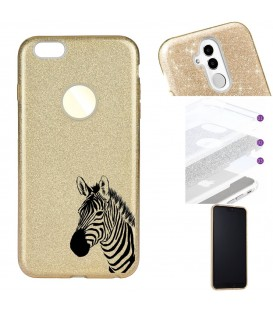 Coque Iphone 7 PLUS 8 PLUS glitter paillettes dore zebre wild jungle raye