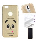 Coque Iphone 6 6S glitter paillettes dore panda coeur rose cute kawaii