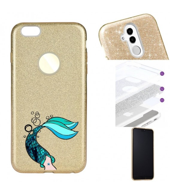Coque Iphone 6 6S glitter paillettes dore sirene mermaid bleu