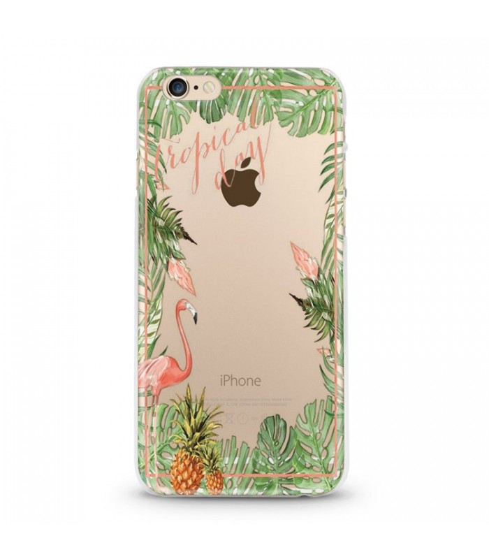 coque iphone 6 6s tropical day flamant ananas summer exotique fleur jungle