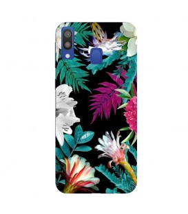 Coque Galaxy A20E tropical Noir Fleur violet rose
