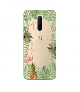 Coque OnePlus 7 PRO Tropical day Flamant Ananas summer Exotique fleur