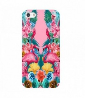 Coque iphone 6 6S Flamant perroquet Tropical exotique fleur geometrique rose
