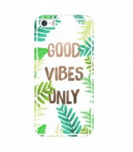 Coque iphone 6 6S Good vibes tropical exotique or vert