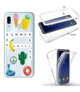 Coque Galaxy A20e integrale scrabble summer chill cactus ananas transparente
