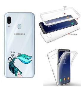 Coque Galaxy A20e integrale sirene mermaid bleu transparente
