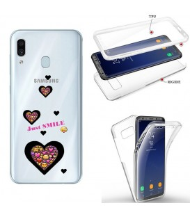 Coque Galaxy A20e integrale smiley coeur emojii transparente
