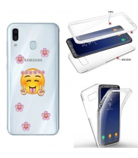 Coque Galaxy A20e integrale Smiley peace and love fleur emojii transparente