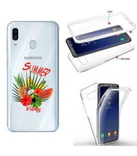 Coque Galaxy A20e integrale summer vibes exotique fleur transparente