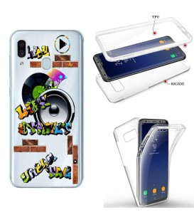 Coque Galaxy A20e integrale tag graffiti urban transparente