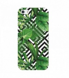Coque iphone 6 6S Jungle tropical exotique geometrique noir blanc