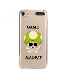 Coque Ipod touch 5 touch 6 game over addict tete de mort vert skull geek retro transparente