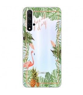 Coque Honor 20 Tropical day Flamant Ananas summer Exotique fleur