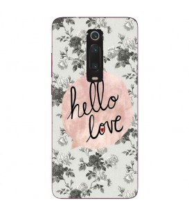 Coque MI 9T hello love coeur rose vintage
