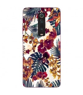 Coque MI 9T jungle automne tropical violet prune mustard