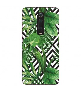 Coque MI 9T Jungle tropical exotique geometrique noir blanc