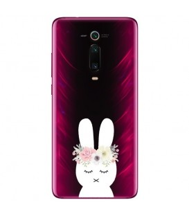 Coque MI 9T lapin fleur rabbit cute kawaii transparente