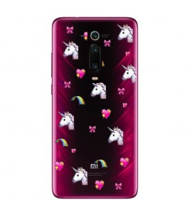 Coque MI 9T licorne coeur unicorn cute kawaii transparente