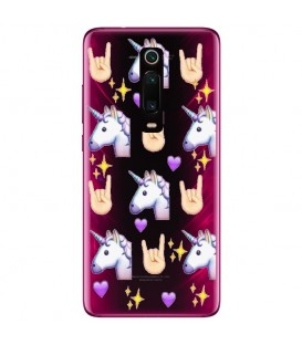 Coque MI 9T licorne emojii unicorn cute kawaii coeur transparente