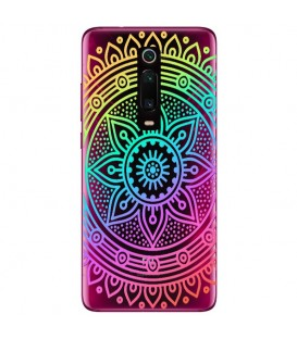 Coque MI 9T mandala arc en ciel multicolor