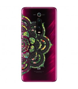 Coque MI 9T Mandala vert jungle tropical transparente