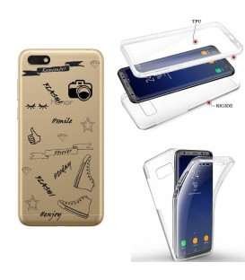 Coque Y5 2019 Honor 8S integrale flash BFF emojii noir transparente