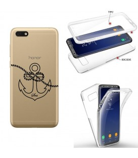 Coque Y5 2019 Honor 8S integrale ancre noir transparente