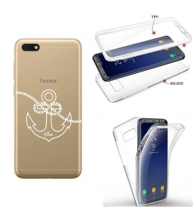 Coque Y5 2019 Honor 8S integrale ancre blanc transparente