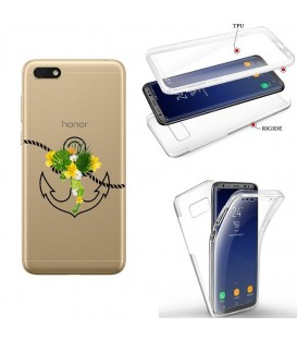 Coque Y5 2019 Honor 8S integrale ancre fleur tropical transparente