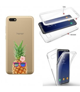 Coque Y5 2019 Honor 8S integrale ananas lunettes tropical fleur transparente