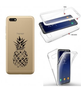 Coque Y5 2019 Honor 8S integrale ananas geometrique noir transparente