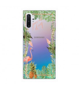 Coque Galaxy NOTE 10 Tropical day Flamant Ananas summer Exotique fleur