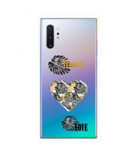 Coque Galaxy NOTE 10 tropical love coeur transparente