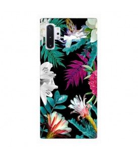 Coque Galaxy NOTE 10 tropical Noir Fleur violet rose